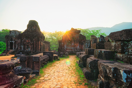 Sunrise at Ruins in Old hindu temples in My Son, Vietnam