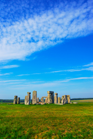 Stonehenge of Wiltshire of Great Britain in cloudy weather. It is a prehistoric monument, in Wiltshire in South West England