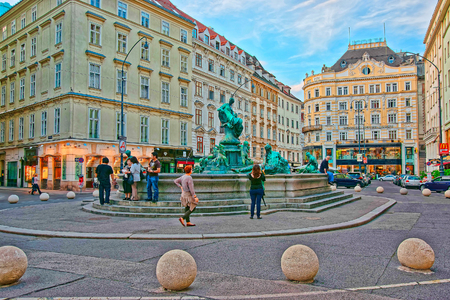 Vienna, Austria - August 31, 2013: Donnerbrunnen fountain in Neuer Markt Square in Vienna, Austria