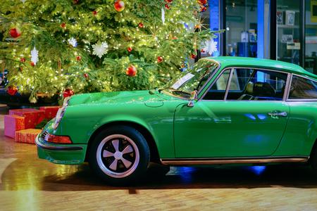 Berlin, Germany - December 11, 2017: Green vintage classic car in Berlin, Germany Editorial