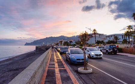 Santa Teresa di Riva, Italy - September 24, 2017: Road with cars at beach in Mediterranean Sea in Santa Teresa di Riva, Messina on Silicy Island in Italy Editorial