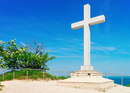Cross monument at Adriatic sea in the Strunjan National Park of Slovenia