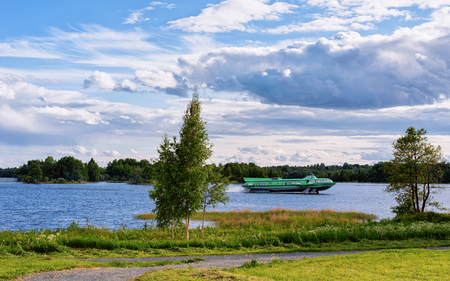Fast Ship on Onega Lake and the Nature in Karelia, Kizhi, Russia Stock Photo