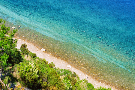 Beach at the Adriatic sea at Strunjan National Park in Slovenia Banco de Imagens