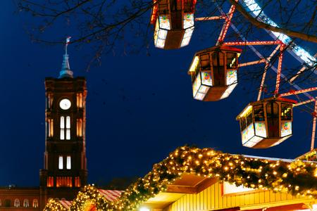 Ferris Wheel at Night Christmas Market, Town Hall, Berlin, Winter Germany.