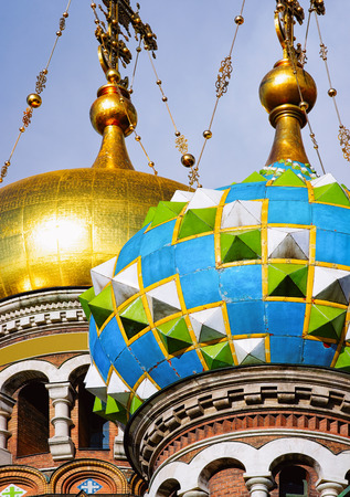 Cupolas of Church of Savior on Spilled Blood in Saint Petersburg, in Russia.