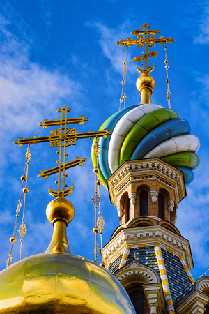 Cupolas of Church of Savior on Spilled Blood in St Petersburg, in Russia.