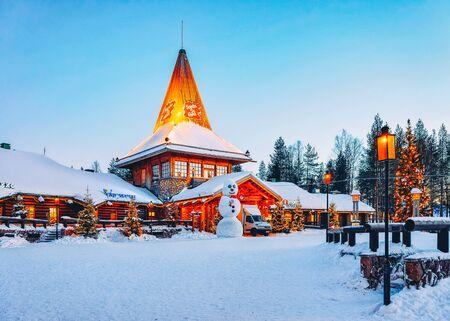 Rovaniemi, Finland - March 6, 2017: Snowman at Santa Office at Santa Claus Village in Rovaniemi in Lapland in Finland. Editorial