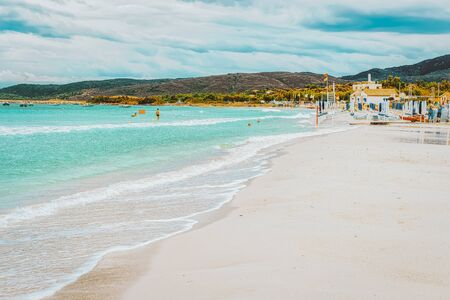 San Teodoro, Italy - September 10, 2017: La Cinta beach and Blue waters of Mediterranean Sea in San Teodoro in Sardinia Island, Italy