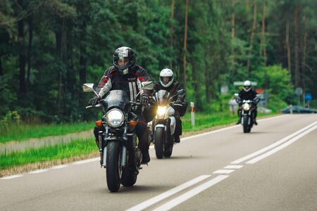 Warsaw, Poland - July 30, 2018: Motorcycles in the road in Poland Editorial