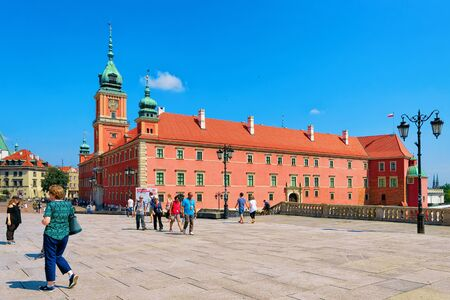 Warsaw, Poland - July 30, 2018: People at Royal Castle on Castle Square in the Old town of Warsaw in Poland Editorial