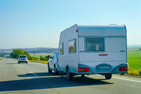 Camper rv on the road in Slovenia.