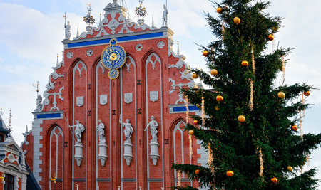 Fragment of House of Blackheads and Christmas Tree, Riga in Latvia. Editorial