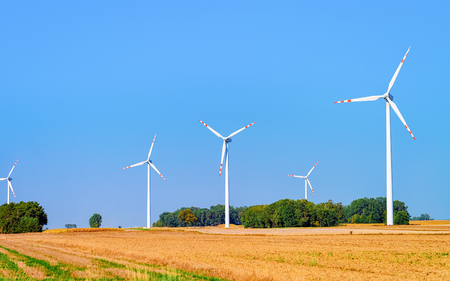 Scenery with Wind mills in South Moravia, Czech Republic.