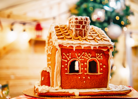 Gingerbread house at Christmas market in Vilnius in Lithuania. Banco de Imagens