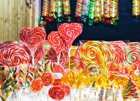 Sweet candies at Christmas market in Vilnius in Lithuania.