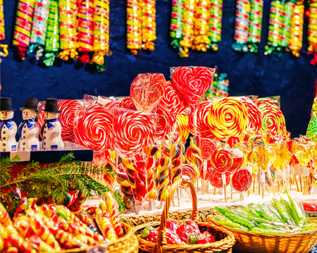 Sweet candies in Christmas market in Vilnius in Lithuania.