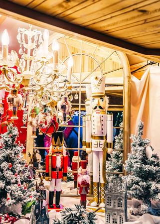 Christmas tree decoration Nutcracker in Xmas market in Vilnius in Lithuania.