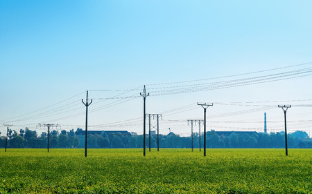 Electric transmission power line in summer