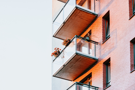 Balconies of Apartment house residential building complex real estate concept. Place for copy space Imagens