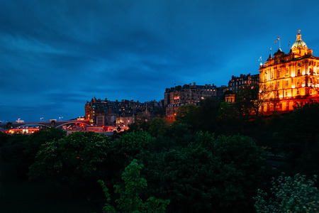 Cityscape with Bank of Scotland headquarters on North Bank Street in Edinburgh in Scotland in the UK. At night