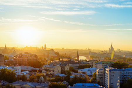 Aerial view of Kremlin of Moscow city in Russia at the sunrise. Фото со стока