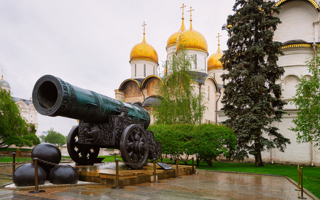 Tsar Cannon and Dormition Cathedral at Kremlin in Moscow city in Russia in the morning.