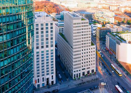 Aerial view on modern building architecture in Potsdamer Platz Square in German City centre in Berlin in Germany in Europe. Building architecture. Details of exterior.