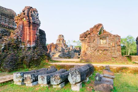 My Son Sanctuary and Hindu Temples near Hoi An in Vietnam in Asia. Heritage of Champa Kingdom. Myson History and Culture. Shiva city ruins. Vietnamese Museum. Hinduism Civilization on Holy Land. 免版税图像