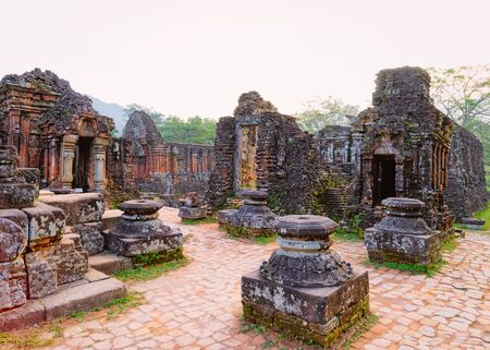 My Son Sanctuary with Hindu Temple at Hoi An in Vietnam, in Asia. Heritage of Champa Kingdom. Myson History and Culture. Shiva city ruins. Vietnamese Museum. Hinduism Civilization on Holy Land.