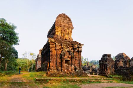 My Son Sanctuary with Hindu Temple near Hoi An in Vietnam in Asia. Heritage of Champa Kingdom. Myson History and Culture. Shiva city ruins. Vietnamese Museum. Hinduism Civilization on Holy Land.
