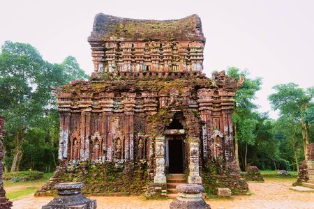My Son Sanctuary with Hindu Temple at Hoi An in Vietnam, Asia. Heritage of Champa Kingdom. Myson History and Culture. Shiva city ruins. Vietnamese Museum. Hinduism Civilization on Holy Land.