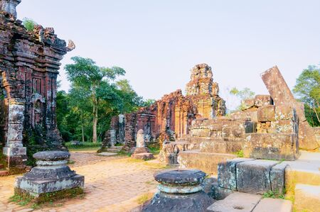 My Son Hindu Temples and  Sanctuary near Hoi An in Vietnam in Asia. Heritage of Champa Kingdom. Myson History and Culture. Shiva city ruins. Vietnamese Museum. Hinduism Civilization on Holy Land.