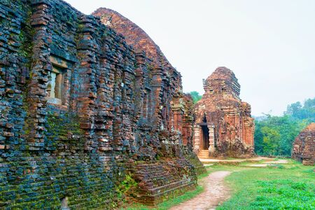 My Son Sanctuary and Hindu Temples near Hoi An, in Vietnam, of Asia. Heritage of Champa Kingdom. Myson History and Culture. Shiva city ruins. Vietnamese Museum. Hinduism Civilization on Holy Land. Stock Photo