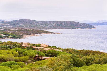 Capo Coda Cavallo seen in San Teodoro in the Mediterranean sea in Olbia-Tempio province, Sardinia island, Italy in summer. Archivio Fotografico