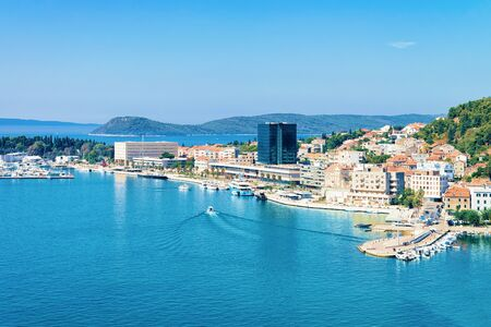 Cityscape and landscape at Old city in Split on Adriatic Coast in Dalmatia in Croatia. Diocletian Palace and Roman Town architecture at Croatian Dalmatian Bay. Europe tourism and vacation in summer. 写真素材