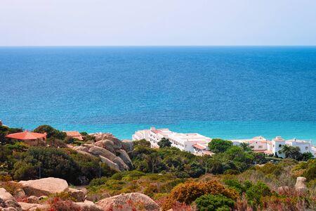 Landscape with villas on the Mediterranean sea in Capo Testa in Santa Teresa Gallura province on Sardinia island in Italy.