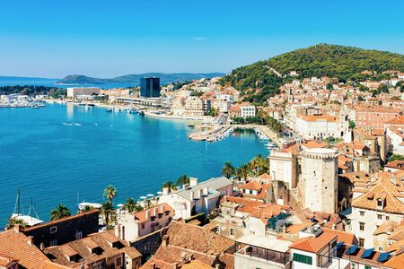 Cityscape and landscape in Old city in Split on Adriatic Coast in Dalmatia in Croatia. Diocletian Palace and Roman Town architecture at Croatian Dalmatian Bay. Europe tourism and vacation in summer. 写真素材