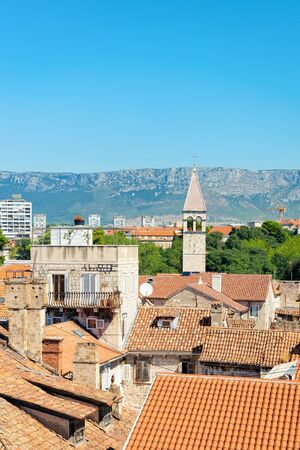 Cityscape in Old city of Split on Adriatic Coast in Dalmatia in Croatia. Building roofs and Roman architecture at Croatian Dalmatian Town. Europe tourism and vacation in summer.