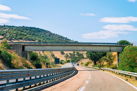 Scenery of the road and bridge in Carbonia near Cagliari in Sardinia in Italy. Stock fotó - 129489088
