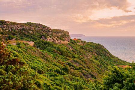 Romantic evening at the Coast of the Mediterranean sea at Portoscuso in Carbonia-Iglesias province, South Sardinia, Italy Zdjęcie Seryjne