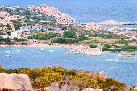 Scenery of beach near the coast of Capo Testa in Santa Teresa Gallura at Mediterranean sea in Sardinia island, Italy. European Sardinian resort