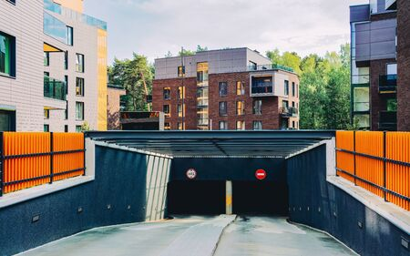 EU Architecture of a modern garage and a residential house quarter Reklamní fotografie