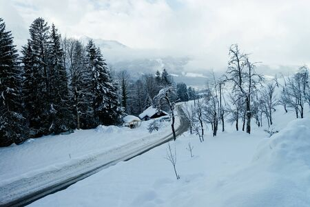 Scenery and road with snowy winter landscape in Bad Goisern village near Hallstatt in Upper Austria. Forest and trees with snow view. Austrian landmark.