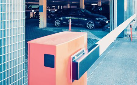 EU Gate crossing of modern parking in the business center