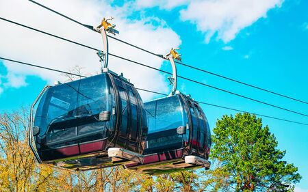 EU Cable cars moving at the ropeway