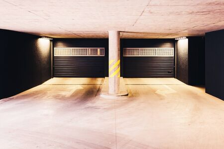Architecture of a modern European garage of residential quarter