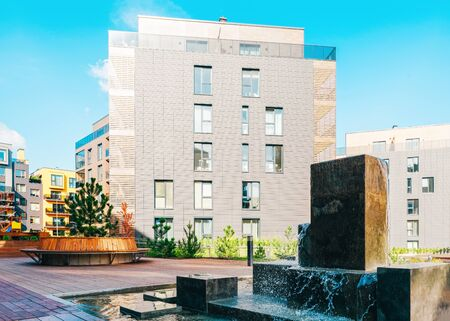 Fountain at architectural complex of residential building quarter. And outdoor facilities.