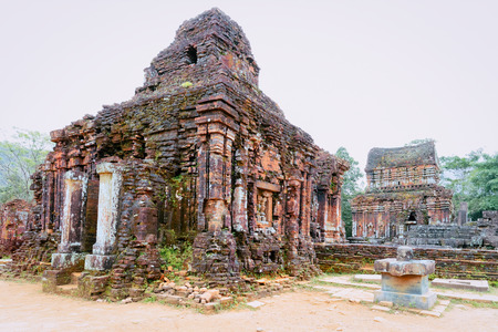 My Son Sanctuary and Hindu Temple near Hoi An in Vietnam in Asia. Heritage of Champa Kingdom. Myson History and Culture. Shiva city ruins. Vietnamese Museum. Hinduism Civilization on Holy Land.