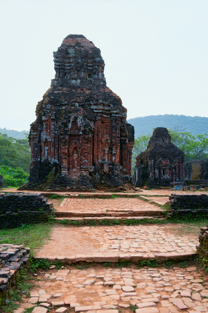 My Son Sanctuary with Hindu Temple near Hoi An in Vietnam, of Asia. Heritage of Champa Kingdom. Myson History and Culture. Shiva city ruins. Vietnamese Museum. Hinduism Civilization, on Holy Land. Editorial
